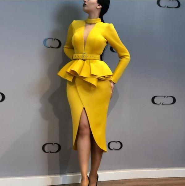 Yeni İlkbahar ve Sonbahar Kadın Moda Uzun Kollu Örgü V Yaka Uzun Kollu Yüksek Bel Bölünmüş Çatal Elbise