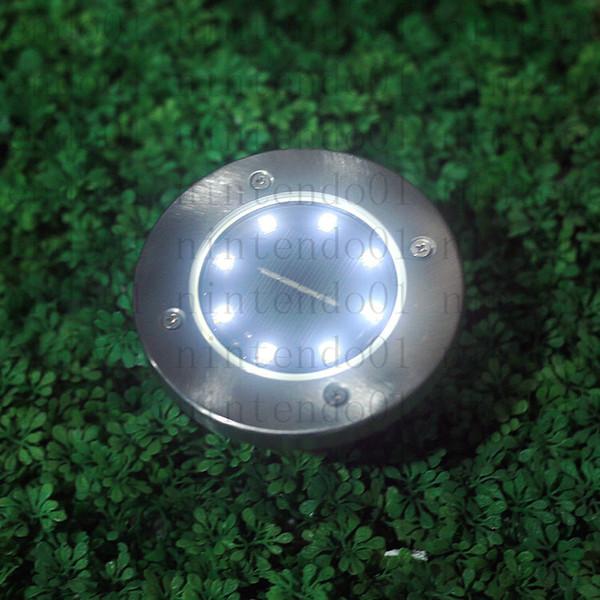 Nouveau 8 LED rechargeable énergie solaire Underground Lights extérieur jardin enterré lampe pour chemin façon pelouse jardin maison décoration de jardin
