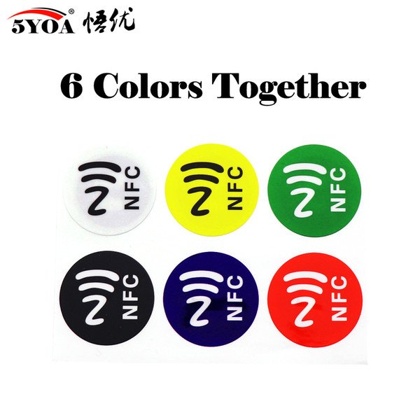 best selling 6pcs lot NFC Tags Stickers NTAG213 NFC tags RFID adhesive label sticker Universal Lable Ntag213 RFID Tag for all NFC Phones