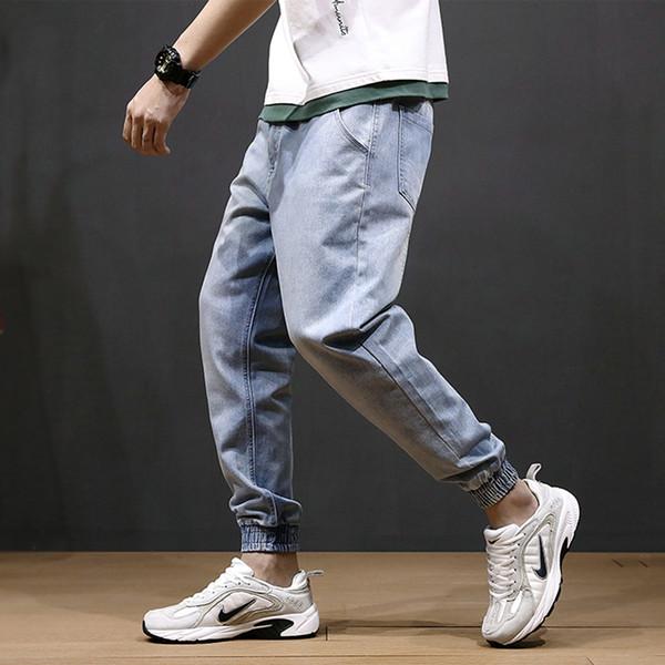 Japanese Style Fashion Men Jeans Loose Fit Light Blue Harem Pants Spliced Designer Cargo Pants Hip Hop Slack Bottom Jogger Jeans