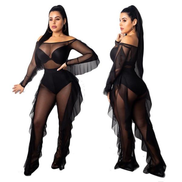 Femmes Sexy Outfits Femmes 2 Piece Set Automne À Volants Tops D'épaule Et Sheer Mesh Pantalon Costume Party Discothèque Ensembles