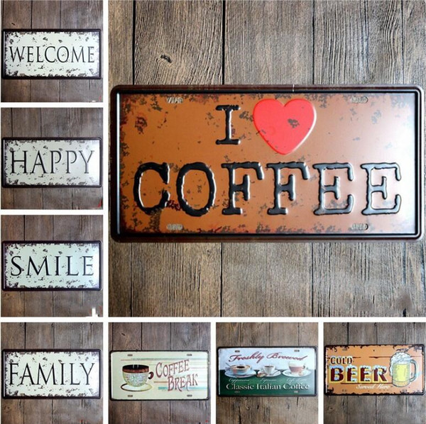 Vintage Metal Sign USA Route 66 Garage American License Pub Cafe Hotel Coffee Decor per camera Craft Metal Sign Wall Art Painting 30 * 15CM