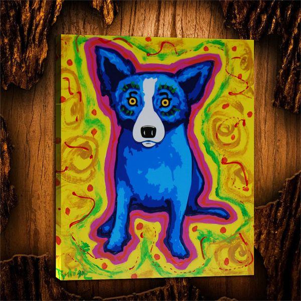 Blue Dog Abstract Puppy, 1 Stück Leinwand Wandkunst Ölgemälde Home Decor (ungerahmt / gerahmt) 24X32.