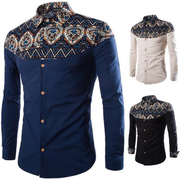 Explosion models new autumn new men's national wind printed linen long-sleeved shirt free postage