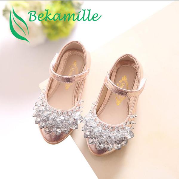Bekamille Children Shoes 2018 New Fashion Girls Baby Leather Shoes Kids Girls Princess Rhinestone Dance Size 21-36
