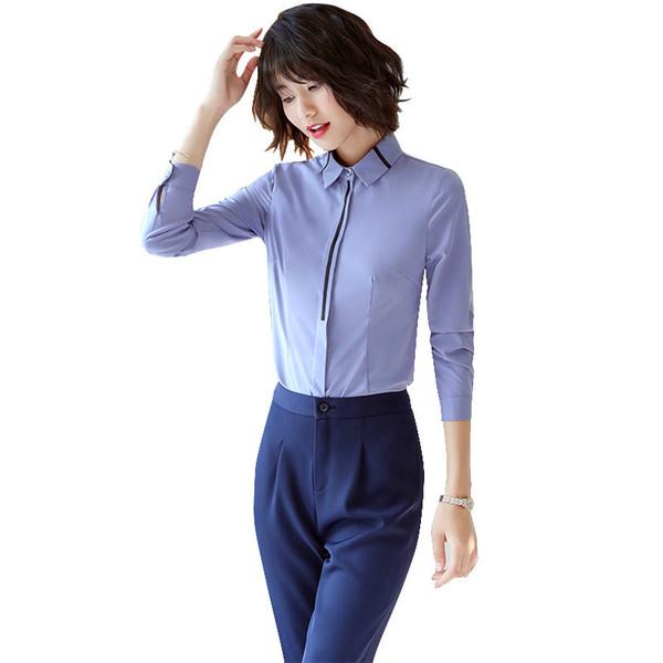 Fashion Office Suit 2 Piece Set Women Ladies Suits Business Blue Blouse Suit Overalls Girls Matching Outfits Large Size 4xl 5xl