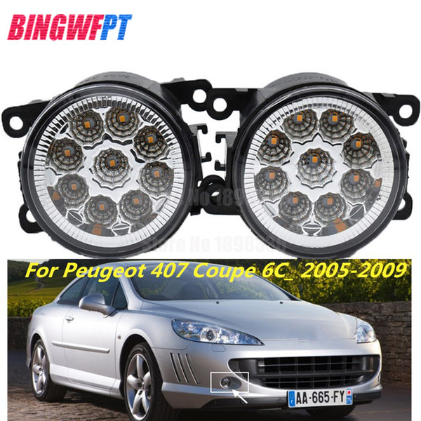 2PCS LED white yellow Front Fog Lights For Peugeot 407 Coupe 6C_ 2005-2009 Car Styling Round Bumper