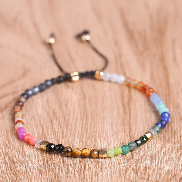 12 Constellation Lucky Stone Beads Simple Bracelet 3mm Beads Adjustable Bracelet Bohemia Unisex Women Chakra Bracelets