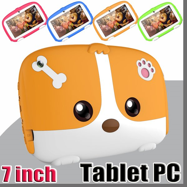 """2019 NEW Kids Brand Tablet PC 7"""" 7 inch Quad Core children Cute cartoon dog tablet Android 4.4 Allwinner A33 google player 512MB RAM 8GB ROM"""