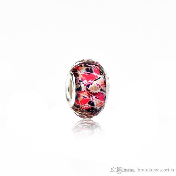 Schöne Murano Lose Perlen 925 Silber Faden Rose Red Lampwork Glas Charme Passen Pandora Armbänder Halskette Schmuck Zubehör PDZ24