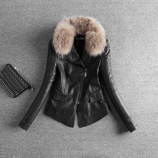 new winter coat fur collar Korean slim leather jacket coat suit female locomotive PU