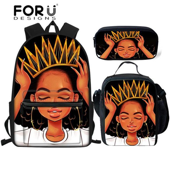 FORUDESIGNS Sac à dos pour les enfants de l'école 3pcs School Bags Set Adolescents Black Queen filles africaines Junior cartable enfants cartable