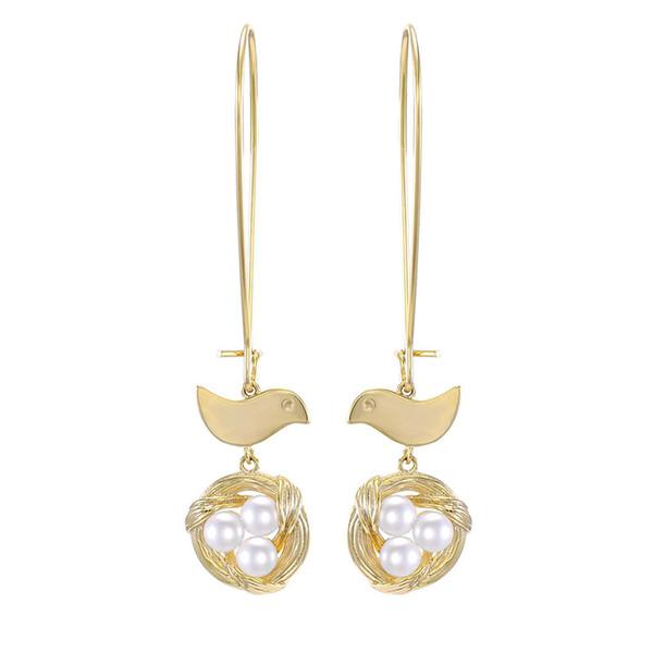 2019 New Fashion Top Quality Designer 925 Silver Needle Bird Nest Shell Pearl Dangle Hook Earrings Long Animal Wedding Earrings for Women