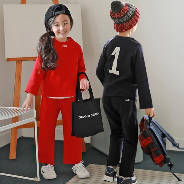 Girls boys autumn winter clothing set kids red dark blue clothes baby o-neck long sleeve velvet thick t shirt and pant set 3-10T