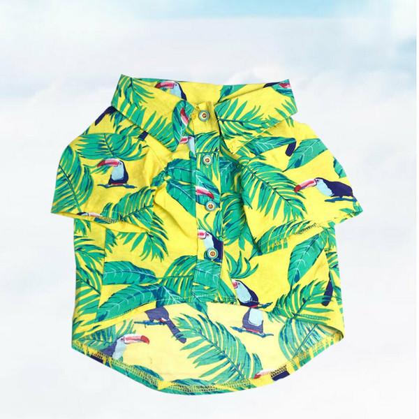 Lustige hawaiische Sommer-Hundekleidungs-kleine Welpen-Kleider für Haustier-Gelb