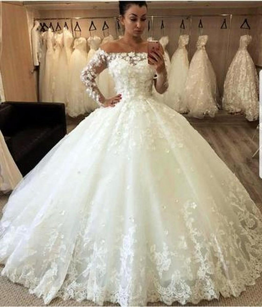 Princess Off Shoulder Ball Gown Wedding Dresses Elegant Transparent Long  Sleeves Puffy Classical Wedding Gowns Hand Make Flower Lace Bridal UK 2019