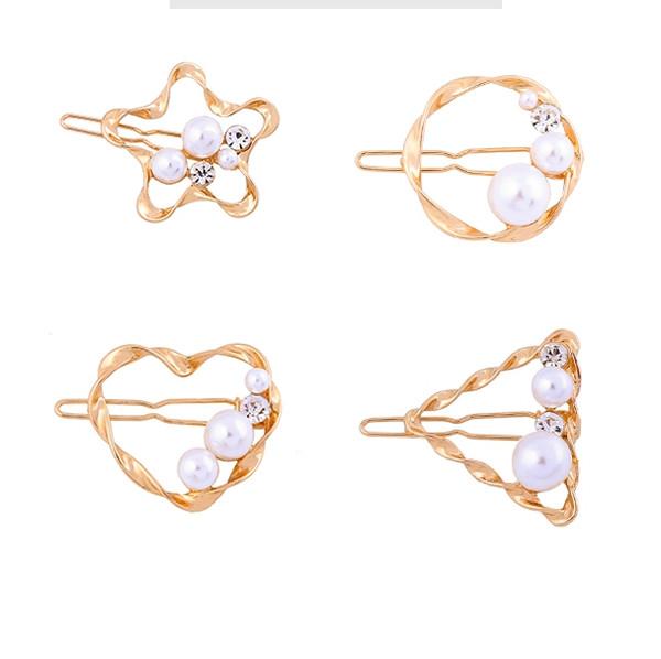 12 pc / lotto gioielli accessori moda in metallo del cuore della stella triangolo perla clip di perno di capelli hairclip Ornamenti morsetto