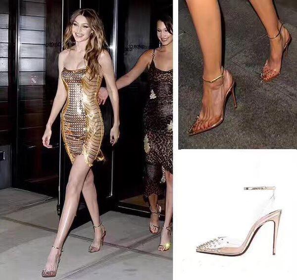 Neueste Red Bottom High Heels aus echtem Leder Frau pumpt Crystal Woman High Heels Spitzniet Hochzeitsschuhe Volle Originalverpackung