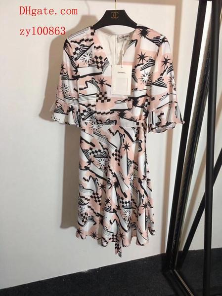 Marca de verão vestidos de macacão macacão de mulheres Nova trompete manga veleiro de seda impressa lace-up de manga curta vestido de saia roupas femininas DO-31