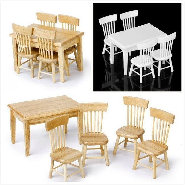 5pcs Wood Dining Table Chair Model Set 1:12 scale Toy Dollhouse Miniature Home Kitchen dolls house Furniture kits White