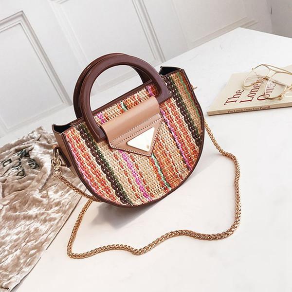 Summer, Small Bag, Female Straw Woven, Carrying Bag, Chain, Handbag, Saddle Bag - Bag.