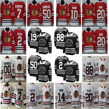 Men Women Youth Kids Winter Classic Chicago Boston 2 Duncan Keith 12 Alex DeBrincat 88 Patrick Kane 00 Clark Griswold Red White Black Jersey