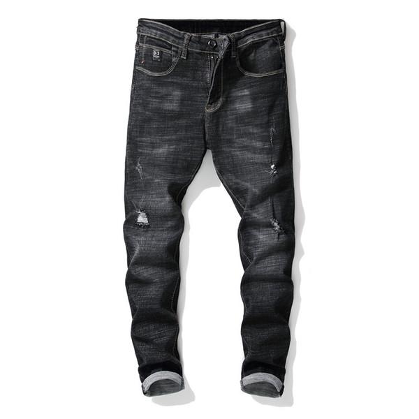 New 2019 European Style Men Ripped Hole Moustache Effect Stretch Denim Pants Runway Slim Biker Jeans Fashion Hiphop Skinny Jeans