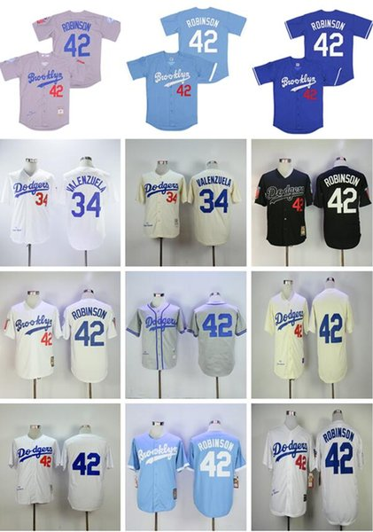 top popular 2020 Men 42 Jackie Robinson Jersey 34 Fernando Valenzuela Retro 1955 1963 Vintage Baseball Jerseys Cool base 2020