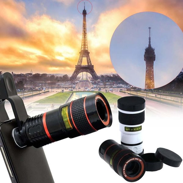 Mobile Phone Telescope 8X Zoom Lens Magnification Magnifier Optical Telephoto Camera Lens For iPhone Samsung Galaxy HTC Retail Package DHL