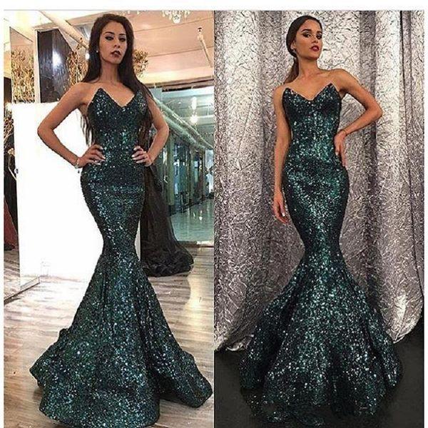 2019 Nueva sirena de moda Curvado Cuello cariño Hunter Color Sweep Train Dubai Vestidos de baile abendkleider Lentejuelas Vestidos de noche