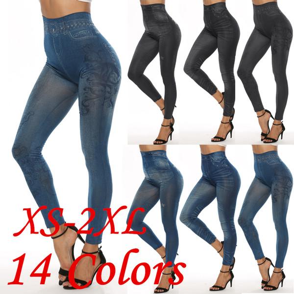 14 colores Leggings Jeans Mujeres Mock Pocket Lápiz Pantalones Slim Jeggings Ladies Denim Skinny Trench