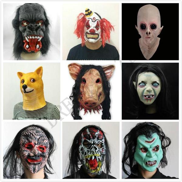 Halloween Creepy Animal Prop lattice pieno viso partito della mascherina unisex spaventoso della testa del maiale Maschera King Kong Orangutan maschera di Halloween spaventoso con capelli neri