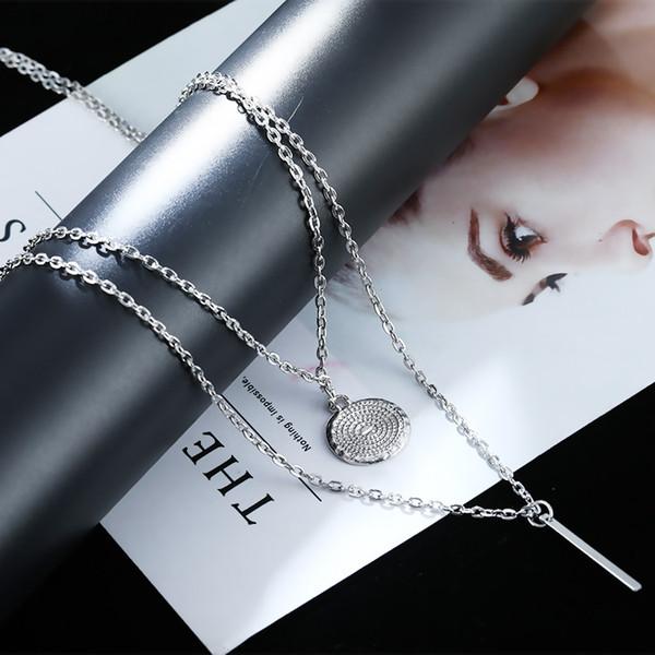 Stilvolle geometrische Wafer-Metall-Mehrschicht-Halskette der heißen Art