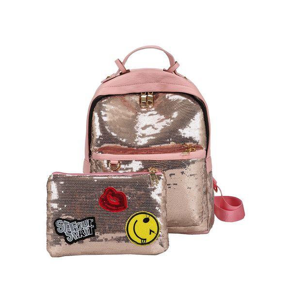 2 Sätze Frauen Taschen Mode Rucksack Mädchen Bling Pailletten Umhängetasche Mädchen Schule Rucksäcke Für Frauen Teenager Mädchen Schultaschen