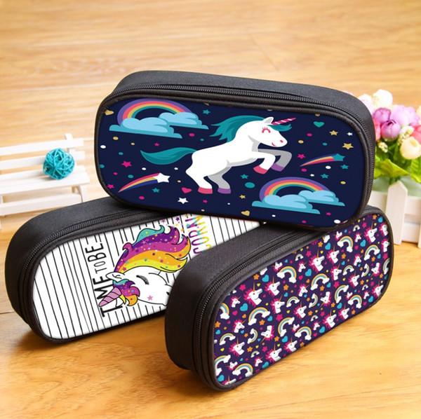 Niños niños regalos de cumpleaños Personalidad Tendencia Lápiz Bolso Unicornio Dibujos animados Productos de papelería Coreano Impermeable Poliéster Lápiz Bolsas