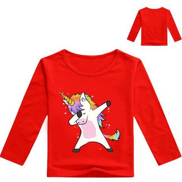 Unicorn Kids T shirts 12 colors 1-12t Kids Boys Girls Unicorn Cartoon Printed Long-Sleeved tee shirt kids designer clothes DHL FJ43
