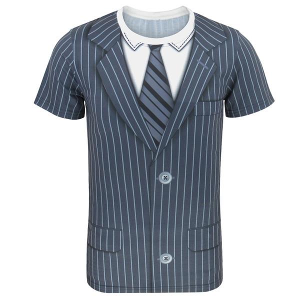 Men's Tie Striped Tuxedo T-shirt Bowtie Shirt Gentleman Tee Theme Party Birthday Wedding Carnival Halloween Top For Adult Man Y19050803
