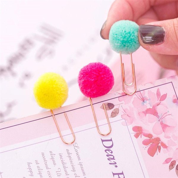 top popular Women Girl Candy color Pom Pom Ball Paper Clips Notes Decoration DIY Bookmark Metal Binder Clips Notes Letter Filing Clip Pins 2021