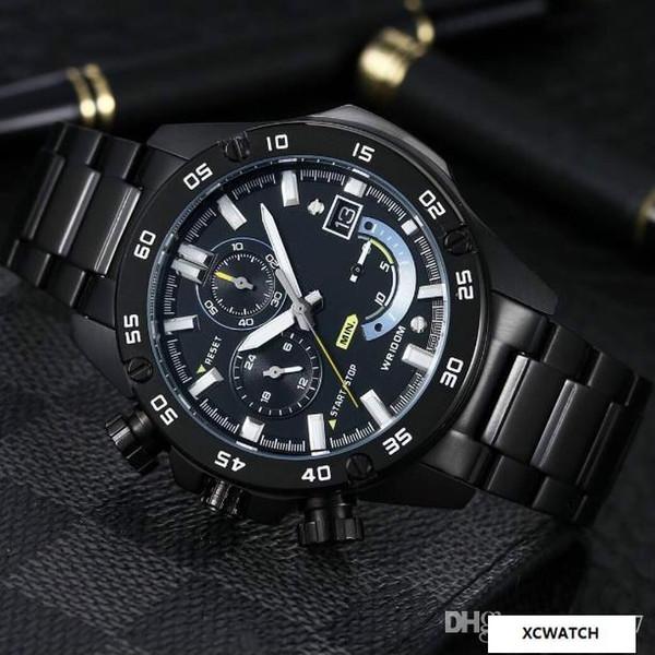 6 needle multi-function male watch quartz movement 316L fine steel case case gold steel coating anti-scratch mirror belt power saving functi