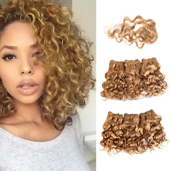 MEYA 6 шт. 1 комплект 220 г Для полной головы воды вьющиеся бразильские девственные человеческие волосы волна черный #1b мед блондинка #27 Короткий боб стиль