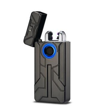 Double Arc USB Charging Electronic Lighter Metal Windproof Cigarette Lighter Creative Men Fingerprint Touch Tobacco Lighters With Gift Box