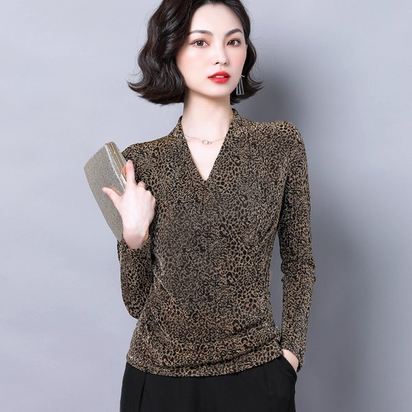 2019 new autumn fashion women shirts knitting full sleeve leopard print mesh v-neckp western style blouse shirt red gold 6688