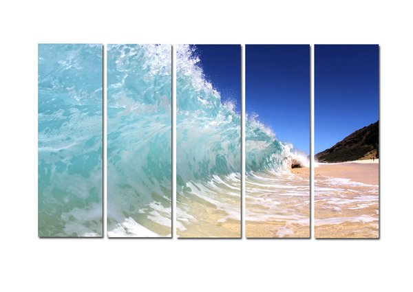 Large 5 Panel Modern Beach Canvas Print Surf Ocean Wave Seascape Painting Art Wall Home Decor Picture Contemporary For Living Room ASet181