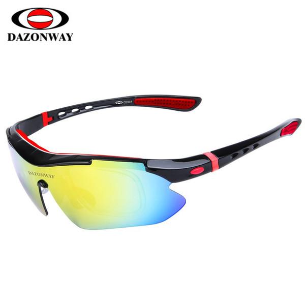 DAZONWAY 5Lens polarizada Gafas de sol de ciclo de alta calidad UV400 de deportes al aire libre Las gafas de sol Gafas de bicicletas Pesca Accesorios de bicicletas
