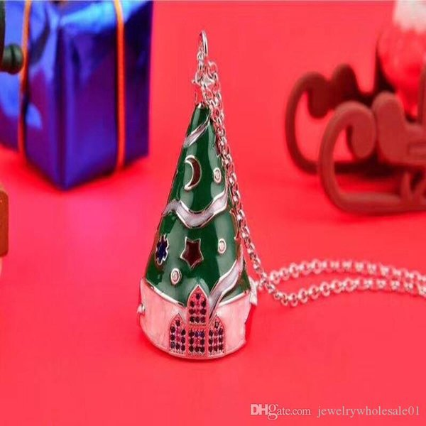 New Christmas Tree Necklace Beautiful Colour Dropping Gum Craft New Year Gift Luminous Fashion Female Necklace Christmas Gift