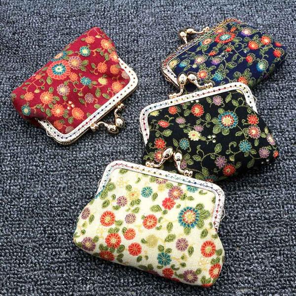 Frauen-Dame Retro Vintage Flower Kleine Geldbörse Haspe Handtasche Clutch