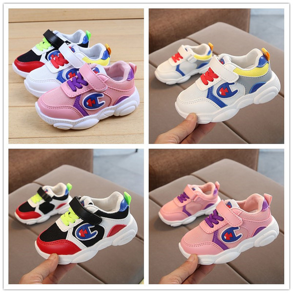 C Logo Spring Kids Designer Shoes Boys Girls Running Shoes Breathable Children Sports Tennis Shoes For Baby Colored Casual Sneakers C71805 Boy Kids