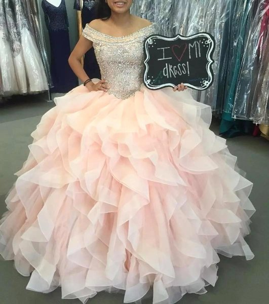 Blush Pink Quinceanera Dress 2019 Tier Ruffle Skirts Beads Sequins Top Ball  Gown Sweet 15 Prom Evening Gowns BC1922 Cheap Formal Dresses For Juniors