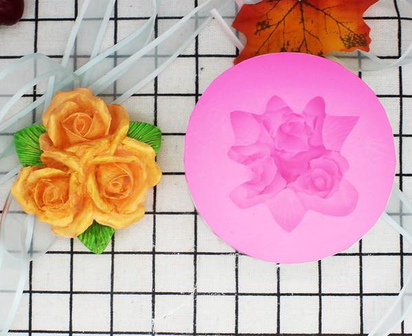 Bakeware 3 rose outlet mold aroma car perfume DIY manual silicone mold cake decoration mold P1050