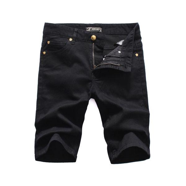 Italiano de design de moda de luxo homens rasgar rasgado equitação denim shorts slim monogrammed motocicleta preta jeans calças estilo personalidade jeans velho